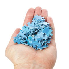 A stack of puzzles palm on a white background.