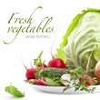 Set of fresh vegetables on white background (with sample text)