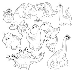 Dinosaurs Family. Vector isolated black and white characters.