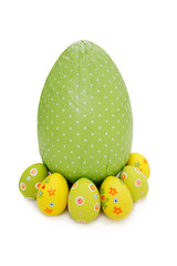 Green wrapped chocolate Easter Eggs and little ones