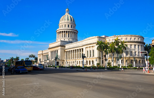 Traffic near the Capitol building in Havana