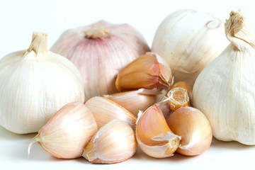 fresh garlic isolated on white
