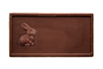 Chocolate bar with bunny - top view