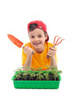 Young boy learning to grow food