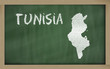 outline map of tunisia on blackboard