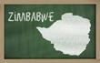 outline map of zimbabwe on blackboard