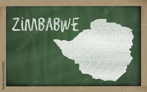 outline map of zimbabwe on blackboard