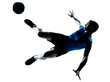 man soccer football player flying kicking