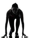 woman sprinter on starting block poster