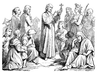 Depicted preaching missionary