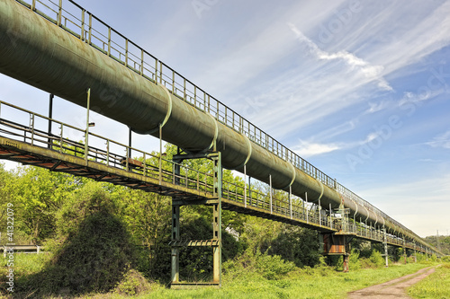 Overhead old industrial pipeline at Wehrden