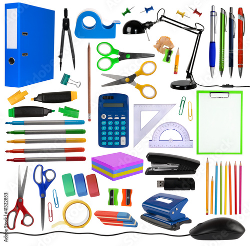 Office objects isolated on white background