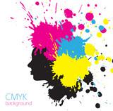 Fototapety SMYK girl, colorful background with splashes