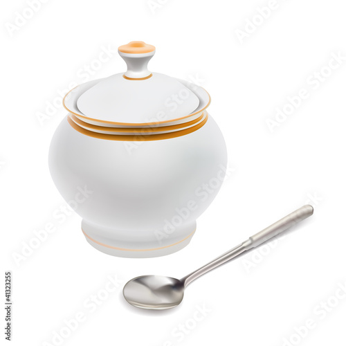 vector cup sugar-bowl cup sugar-bowl spoon isolated on white bac