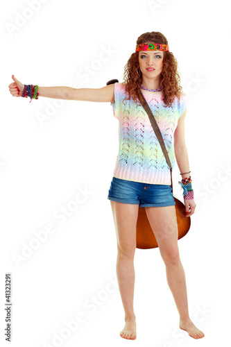 young woman hitch-hiking