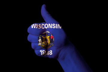 wisconsin us state flag thumb up gesture for excellence and achi