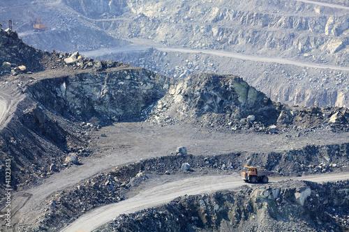 Dump truck in the asbestos quarry.