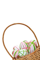 Easter eggs in a basket from right corner