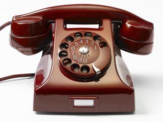 red Retro Rotary Dial Phone - vecchio telefono a rotella