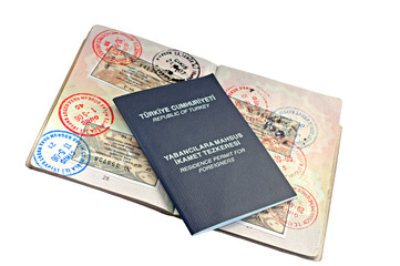 UK passport with Turkish visitor visa's and residence permit