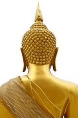Buddha back in white background