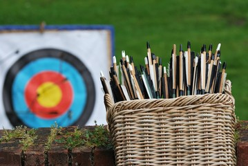 basket of arrows with target