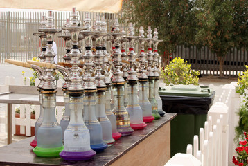 Colurful Arabic Shisha kept in a shop for customer