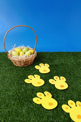 Easter eggs hunt with bunny tracks