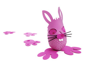 Pink Easter bunny egg and tracks