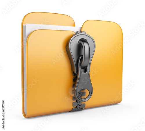 Folder with zip 3D. Compression of data. Isolated on white backg