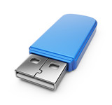 Fototapety Blue USB flash drive 3d. Isolated on white background