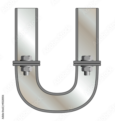 Metallic letter U isolated on white background