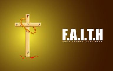 Wooden Cross on Faith Background