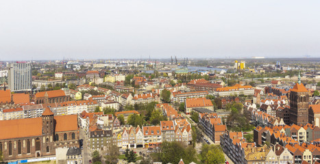 Gdańsk,skyline with old town and ship yard