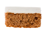 Sweet Carrot Cake  isolated on white .
