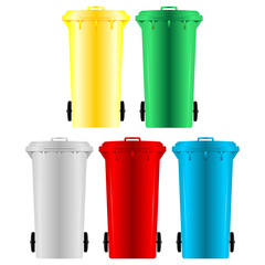 Garbage bins with four different colors over white