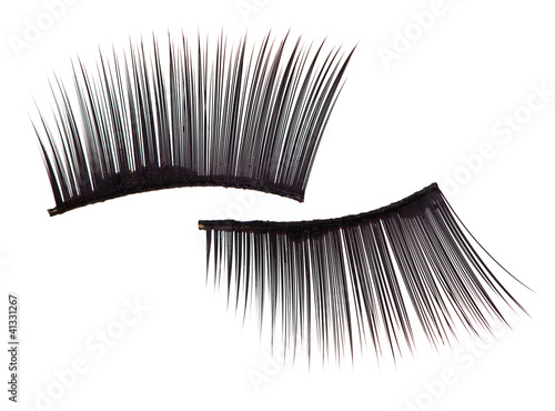 False eyelashes, isolated on white macro view