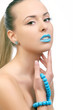 young beautiful woman with blue lips