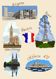 France sights in watercolor