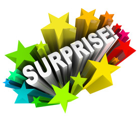 Surprise Starburst Word Exciting News Information