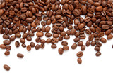 Fototapety Brown roasted coffee beans isolated on white