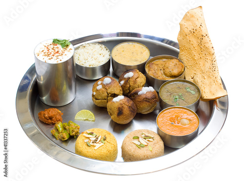 Indian vegetarian Thali, traditional food , Rajasthan, India