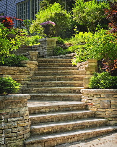 Fotobehang Tuin Stone stairs landscaping
