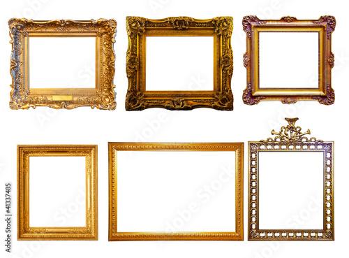 few  gilded frames. Isolated over white background
