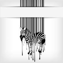 Abstrakcyjny wektor zebra sylwetka z kodem kreskowym
