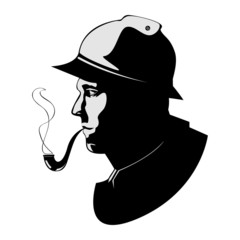 vector silhouette pipe smoker