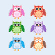 Colorful owls textile stickers