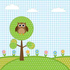 Owl on tree and flowers