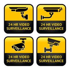 Security camera labels, video surveillance, set CCTV symbol