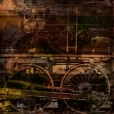 Retro technology, old trains, grunge background - 41340838